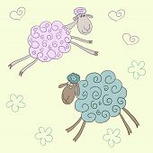 Funny Vector Background With Soft Colored Cute Cartoon Sheep