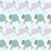 Funny vector seamless pattern background with soft pink and green colored hand-drawn cartoon sheep