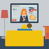 Illustration In A Flat Style With Couple Watching The News