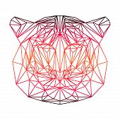 Polygonal Abstract Gradient Colored Tiger Silhouette Drawn In One Continuous Line