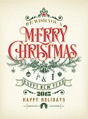 Christmas And New Year Typographical Background