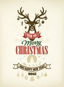 Merry Christmas And Happy New Year, Vintage Typographical Background With Deer