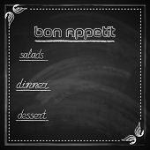 vintage vector illustration with chalkboard menu design