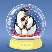 Snowing Globe With Family Of Three Penguins Inside