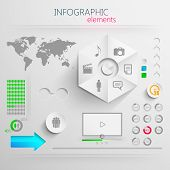 vector set of abstract 3d paper infographic elements for print or web design