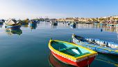 Pair of  small Colored fishing boats, Malta
