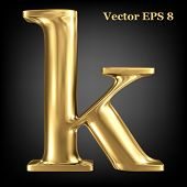 Golden shining metallic 3D symbol lowercase letter k, vector EPS8