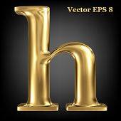 Golden shining metallic 3D symbol lowercase letter h, vector EPS8