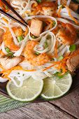 Rice Noodles With Shrimp And Chicken, Vegetables Vertical