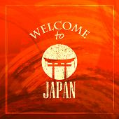 abstract red vintage background for web or print design. illustration with Japanese gate icon.