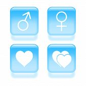 Glassy Love Icons. Vector Illustration