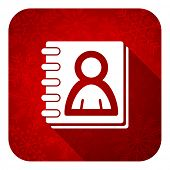 address book flat icon, christmas button