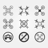 Quadrocopter black vector icons set - modern symbols