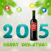 Christmas Background With Bottle Of Wine And Balls