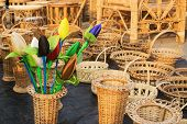 Cloth Made Tulip Buds And Cane Furnitures