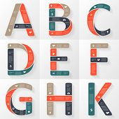 Vector font infographic, diagram with letters