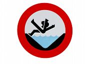 Road sign drowning hazard
