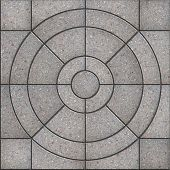 Gray Pavement Slabs in the Form of Circles.
