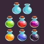 image of dead-line  - Cartoon bottles with poison in different colors - JPG