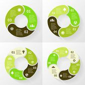 Eco infographic, circle arrows, 3, 4, 5, 6 steps.