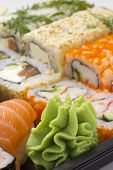 stock photo of masago  - Sushi bento box. Fresh sushi roll. Isolated.