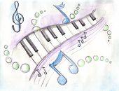 Watercolor of piano keys & notes
