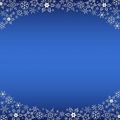 Winter Blue Frame With White Snowflakes