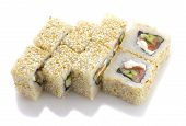 Sushi Roll With Salmon Cheese And Vegetables Rolled In Sesame Isolated On White Background
