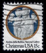 VirginMary With Baby Jesus And Angels. Christmas Postage Stamp