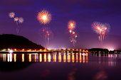 Fireworks Celebrating Over Lake Kawaguchiko At Night With Mount Fuji Background