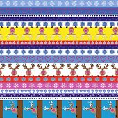 Christmas Striped Seamless Pattern With Reindeer