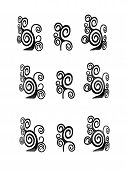 image of primitive  - Seamless ethnic primitive patterns for background or design in monochrome isolated over white - JPG