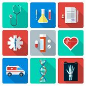 flat style medical icons set