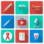 flat design medical icons set