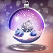 Snow Glass Crystal Ball With Christmas Balls In Vector
