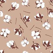 Cotton bolls beige seamless vector pattern