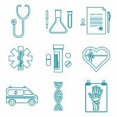 outline medical icons set