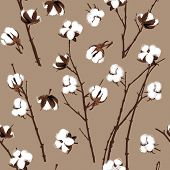 Cotton plants beige seamless vector pattern