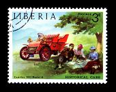 Historical Antique Auto Postage Stamp Liberian
