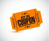 Keep This Coupon. Orange Ticket Illustration