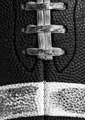 Worn American Football Close Up in Black and White