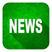 news flat icon, christmas button