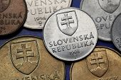 Coins of Slovakia. Coat of arms of Slovakia depicted on Slovak koruna coins.