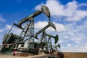 pic of jacking  - Working oil pump jacks on a oil field  - JPG