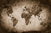 Ancient, old world map. Pencil sketch, grunge, vintage background texture. Sepia mood