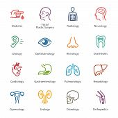 Colored Medical & Health Care Icons Set 1 - Specialties
