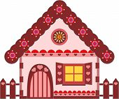 Pink and Brown Gingerbread House Vectors