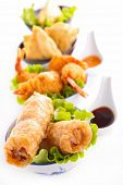 asian cuisine, spring roll, samosa and fritter shrimp