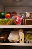 Inside Of Fridge Filled With Food