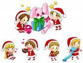 Cute Christmas Elves In Cartoon Style Collection Set (vector)